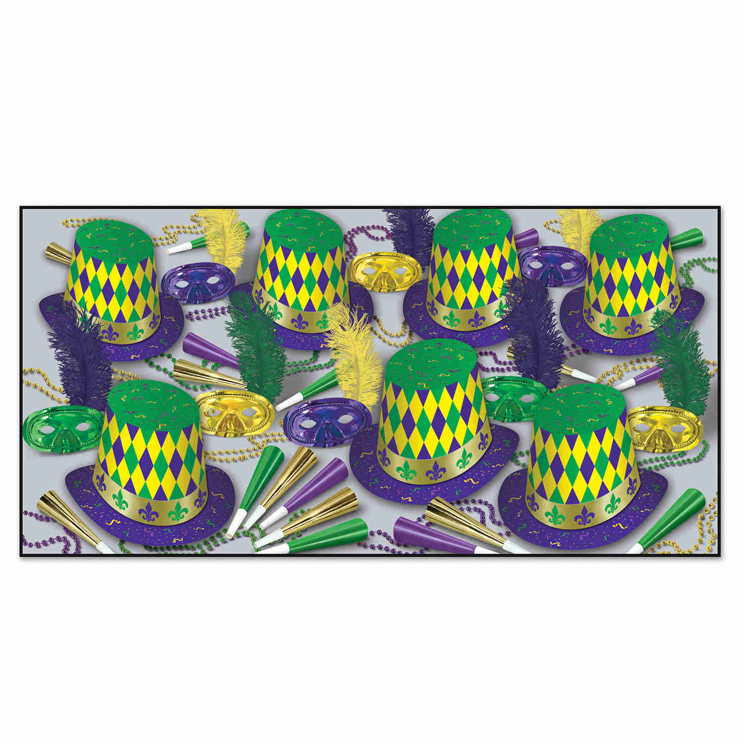 mardi gras themed party kit with party hats and masks
