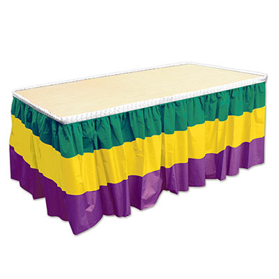 Green, Gold and Purple Striped Mardi Gras Table Skirting