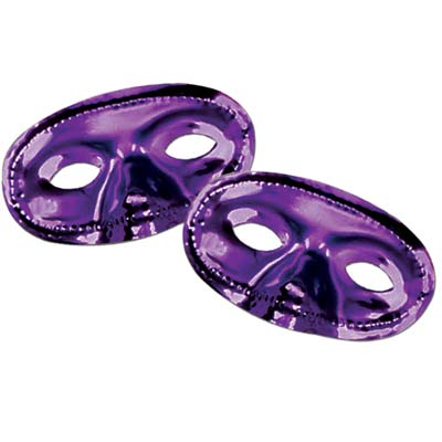 Purple metallic mask with stretchable elastic to wear around the eyes.