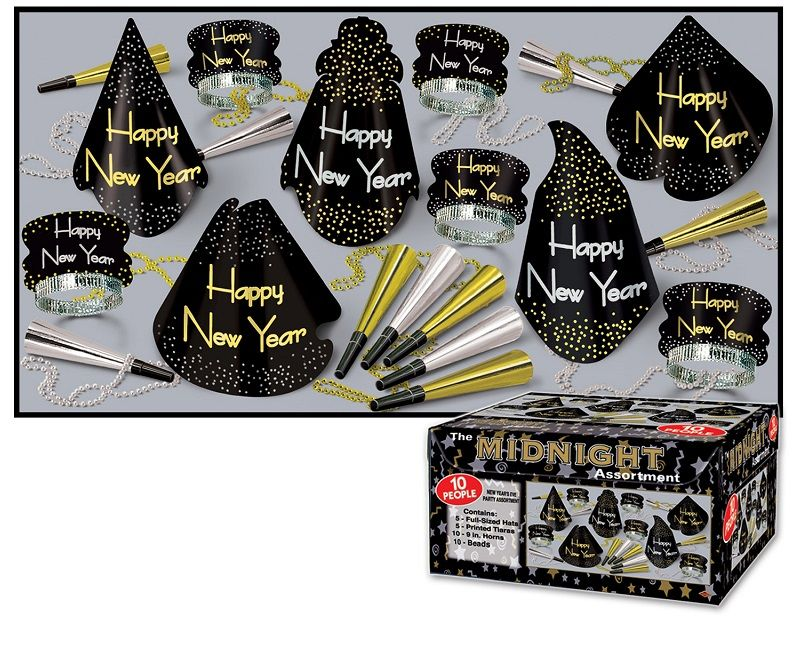 Midnight Asst for 10 Midnight Assortment, new years eve, black gold and silver, party favor, hat, tiara, horn, beads, wholesale, inexpensive, bulk