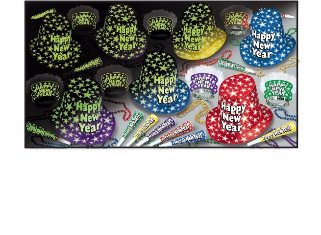 Glow in the dark new year's eve party pack for 50 people