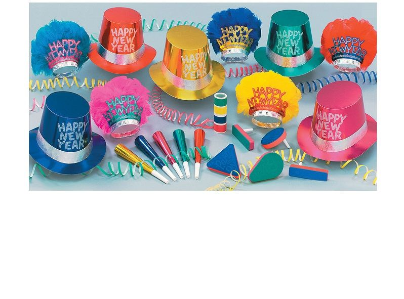 Monte Carlo Asst for 10 Monte Carlo Assortment, party favors, hats, tiara, horn, noisemakers, serpentine, new years eve, multi-color, wholesale, inexpensive, bulk