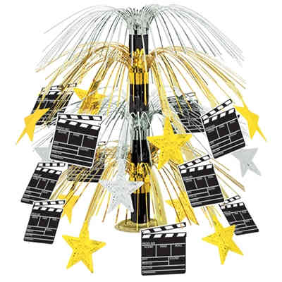 hollywood themed table centerpiece with clapboards and gold stars on the centerpiece