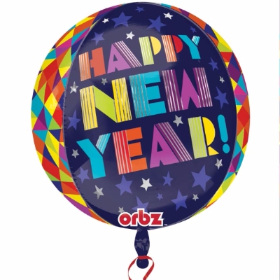 Multi-Color Happy New Year Orb Balloon printed with an assortment of colors.