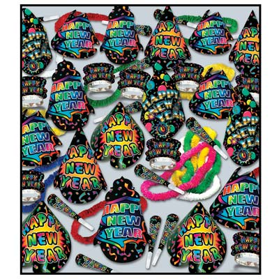 bright colored nye party supplies in a kit for 100 people