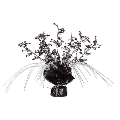 Weighed down black centerpiece with cascading metallic strands and wired music notes
