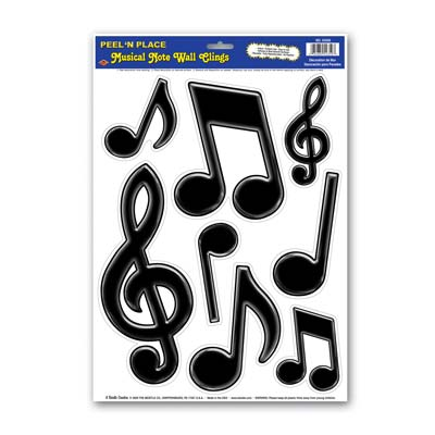 Musical Notes Peel N Place is printed black musical notes on thin plastic material.