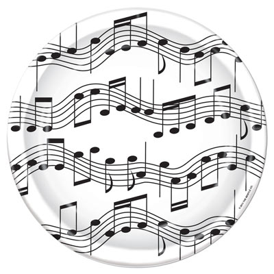 White Plates with black music notes