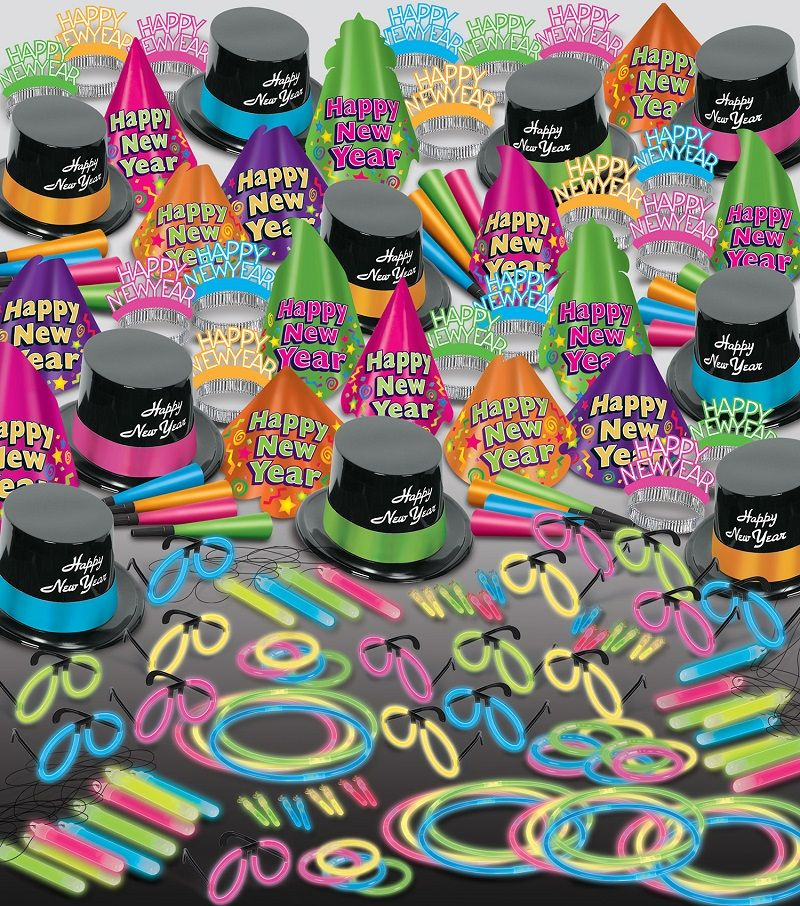 Neon Glow Super Bonanza - New Years Party Kit for 100 New Years Eve Party kit, glow in the dark party kit, nye party pack, bulk new years eve kit, wholesale nye party pack, neon new years eve items