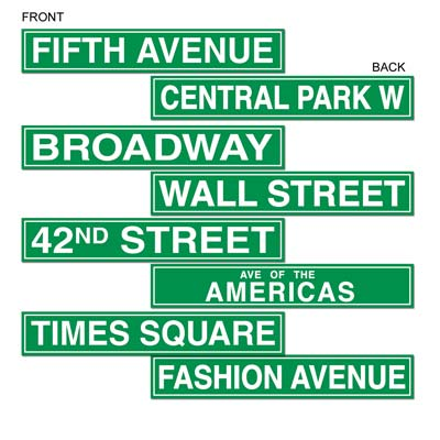 Green street signs of New York on card stock material such as Broadway, Times Square and Fifth Avenue.