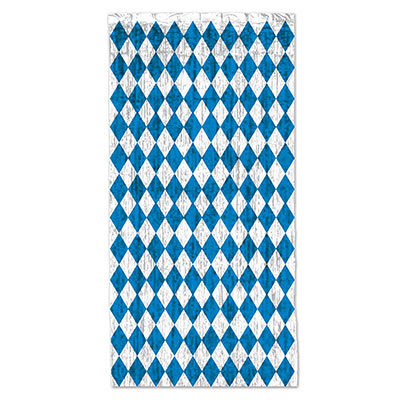 Gleam n curtain designed with blue and silver diamonds.