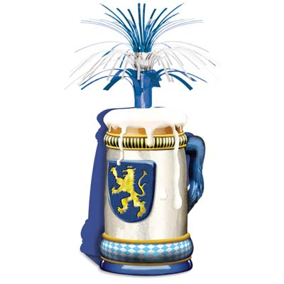 Card stock beer stein on the bottom with blue and silver metallic cascade at the top.