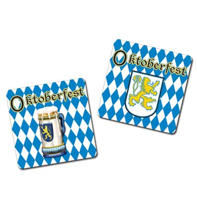 blue and White Oktoberfest Coasters