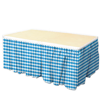 Blue and White Oktoberfest Table Skirting