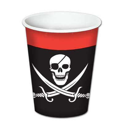 Black with Red top Pirate Beverage Cups
