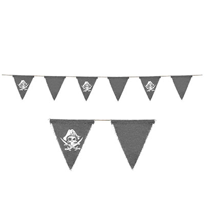 Pennant banner with gray material including a white printed skull and swords.