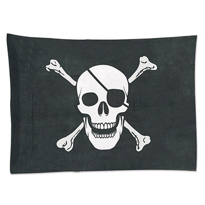 Black background flag of fabric material with printed white skull and bones.