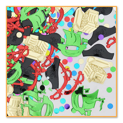Metallic Pirate Party Confetti in colors of gold, green, red and black