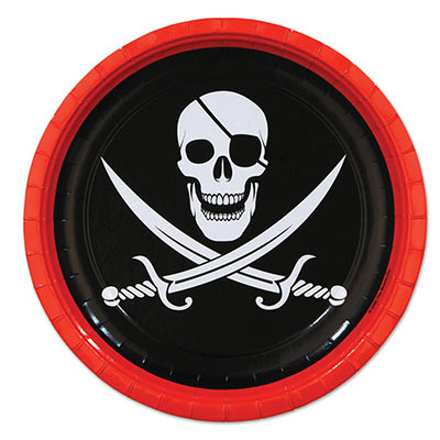 Black and Red Edging Pirate Plates with white skull and swords