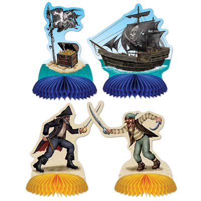 Fun pirates sword fighting cut out on card stock material with a ship and treasure over tissue base.