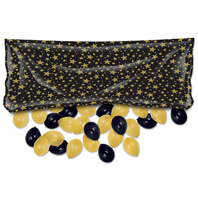 Black with Gold Stars Plastic Balloon Bag