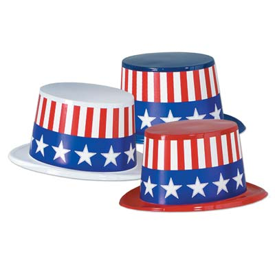 Patriotic Flag plastic party hats with red and white stripes and stars