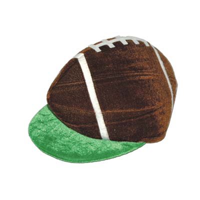 Plush football hat with a green velour brim and football designed top.