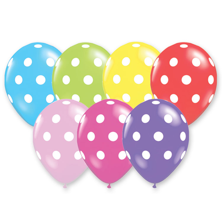 Assorted colored balloons made of latex material with white imprinted dots.