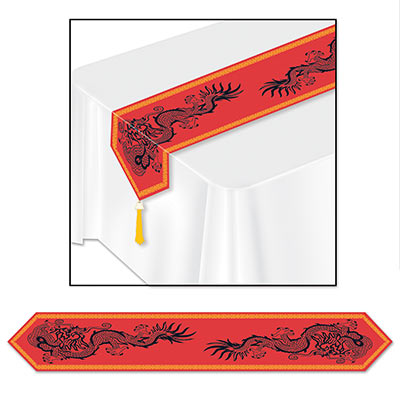 Red table runner with gold boarder and two black dragon prints on each side.