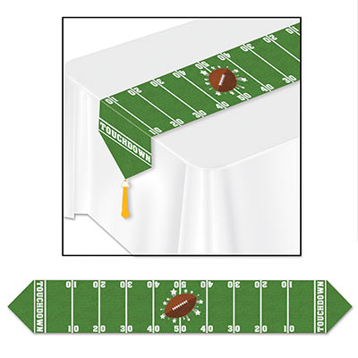 Green table runner with football in the center and field lines.