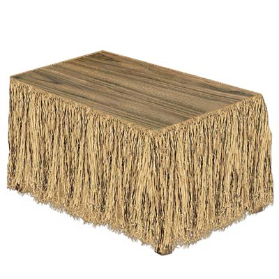 Raffia Table Skirting for a Luau