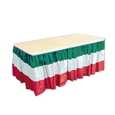 Red, White & Green Striped Table Skirting