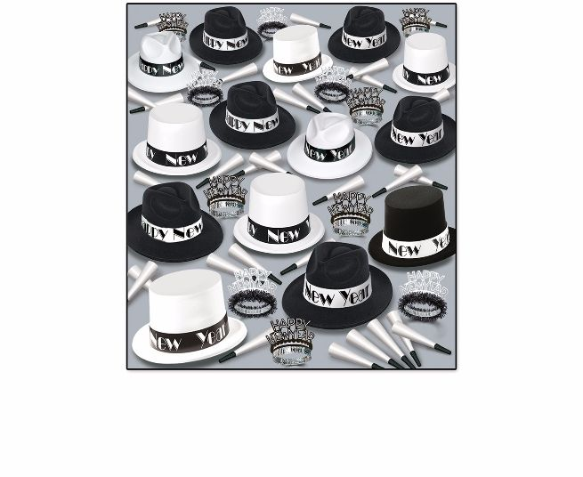 black and white new year's eve party kit with top hats and fedoras for 100 people