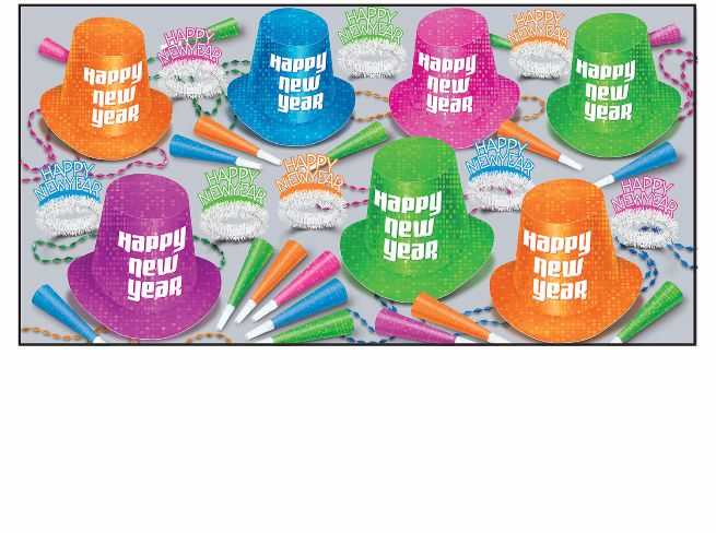 Neon New Years Eve Party kit for 50 people