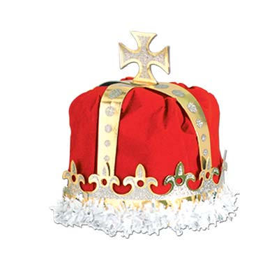 Red Royal Kings Crown with a gold cross at the top and white fringe around the bottom