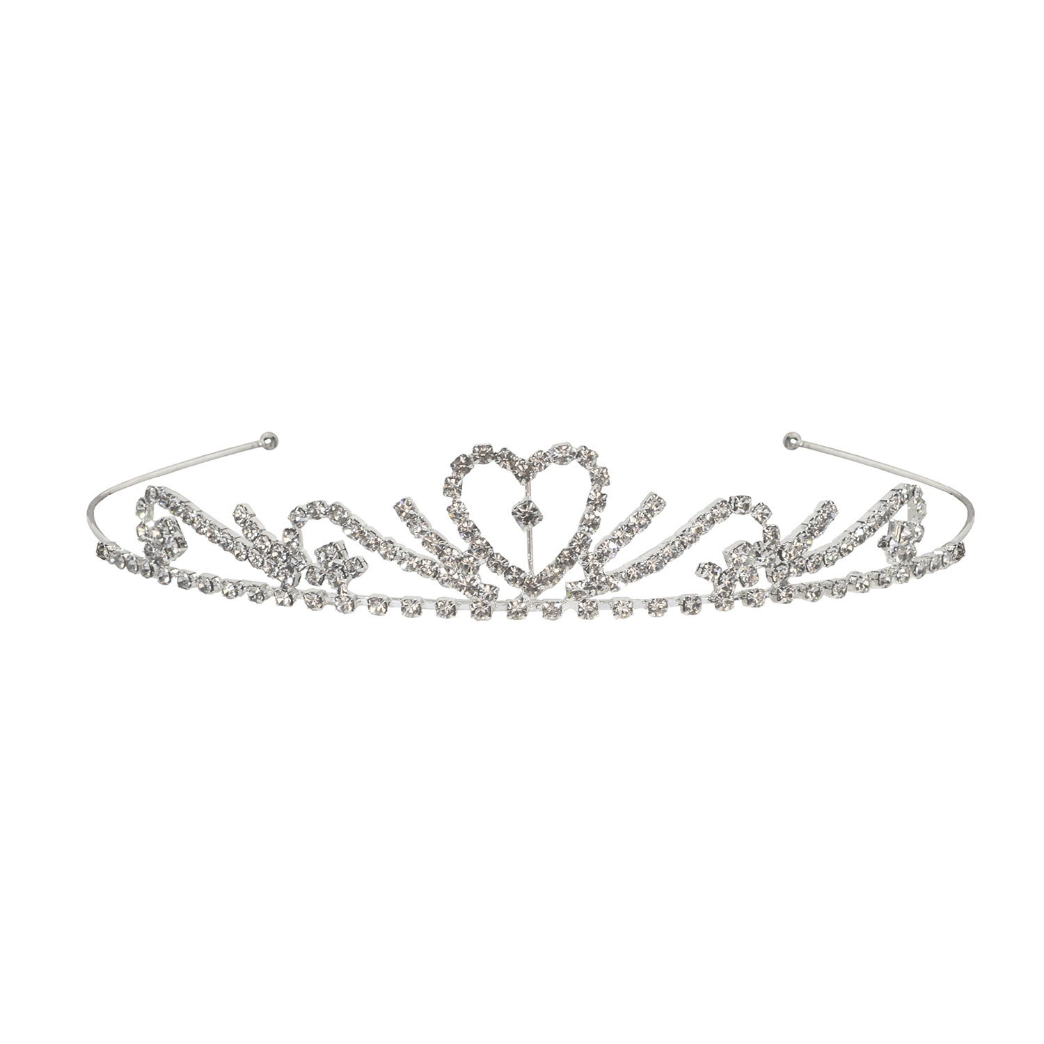 Silver tiara with shimmering rhinestones.