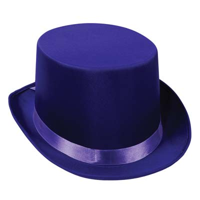 Purple top hat that is made of a satin material.
