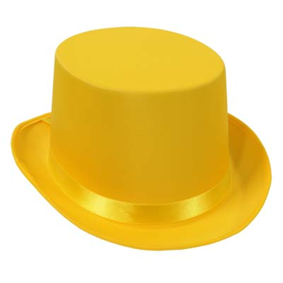 Yellow top hat that is made of a satin material.