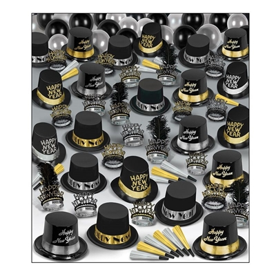 Silver Gold Deluxe - New Years Party Kit for 100 Wholesale, Factory Direct, New Years Eve Party Kits