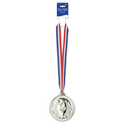 Silver Medal with Red, White and Blue Ribbon