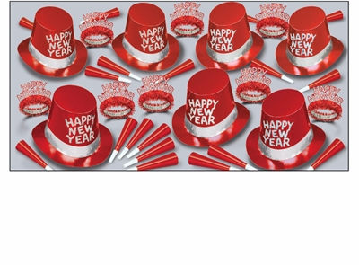 Red new years eve party kit with party hats, glittered tiaras, and red party horns