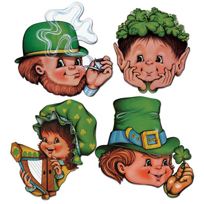 Cartoon designed children faces with St. Patricks Day traditions such as shamrock printed hats.