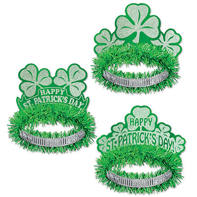 Shamrock St. Patricks Day tiara with glittered designs and green fringe.