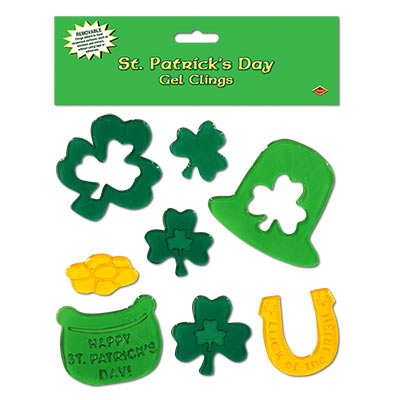 Gel created shamrocks, hat, horse shoe and leprechaun bucket clings.