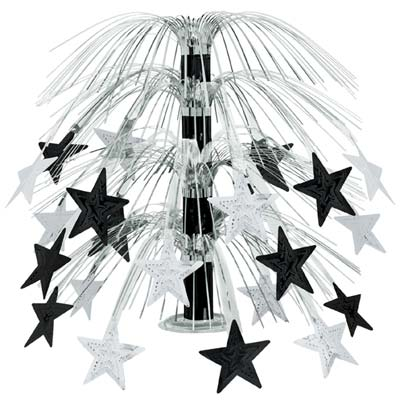Black and Silver Star Cascade Centerpiece