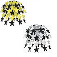 black and gold & black and silver hanging cascades with stars on them