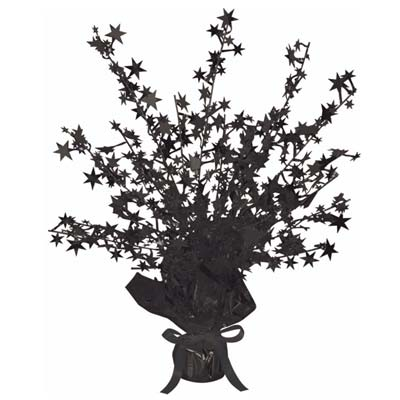 Metallic centerpiece with is bursting with black stars and weighted bottom.