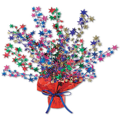 Metallic centerpiece with is bursting with multi-color stars and weighted bottom.