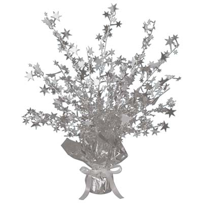 Metallic centerpiece with is bursting with silver stars and weighted bottom.