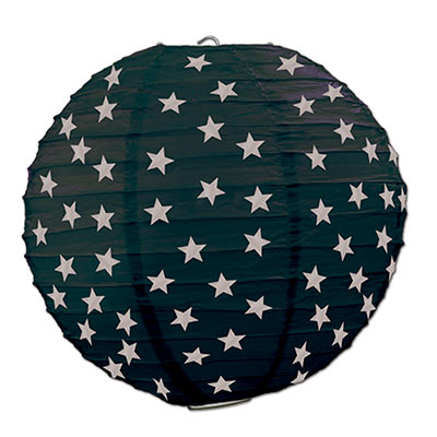 Hanging Black with Silver Star Paper Lantern